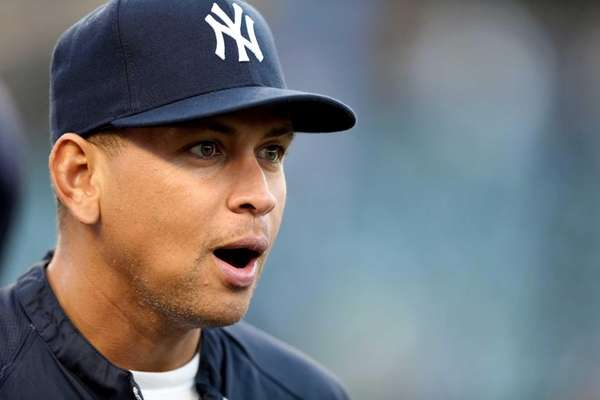 Alex Rodriguez looks on during batting practice against