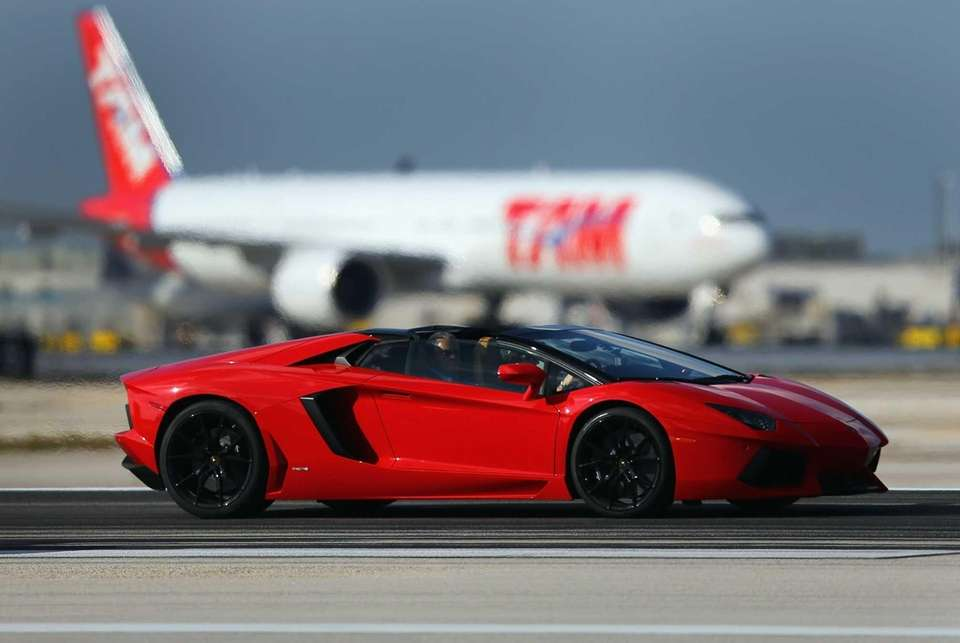 A new Lamborghini Aventador LP700-4 Roadster is seen