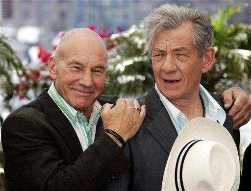 Patrick Stewart, left, and Ian McKellen during a