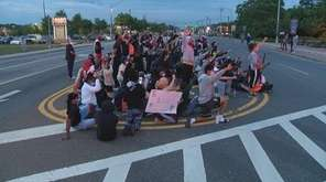 Protesters shut down Montauk Highway in Shirley Wednesday
