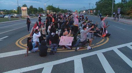 Protesters shut down Montauk Highway in Shirley Wednesday