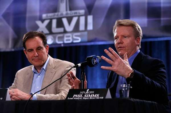 CBS Sports announcers Jim Nantz, left, and Phil