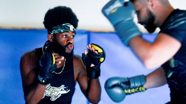 UFC bantamweight fighter Aljamain Sterling works with Nazim