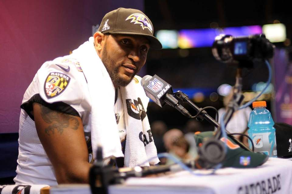 Baltimore Ravens linebacker Ray Lewis answers questions from