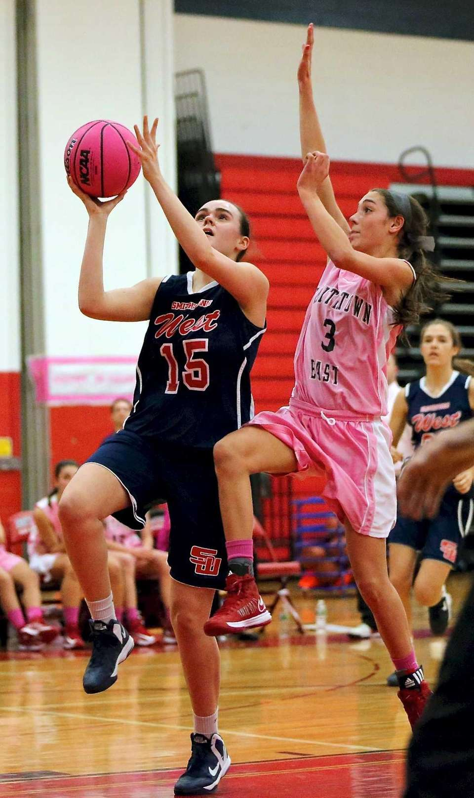 Smithtown West's Katherine Delanty takes the steal in
