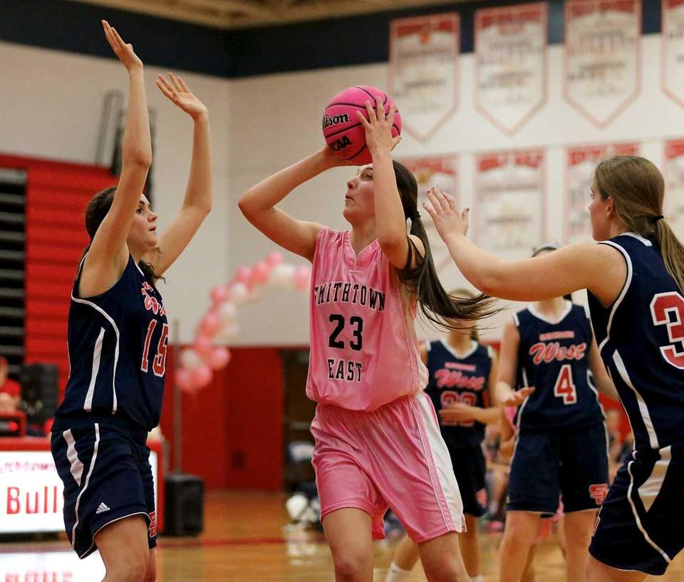 Smithtown East's Samantha Delaney puts the shot up