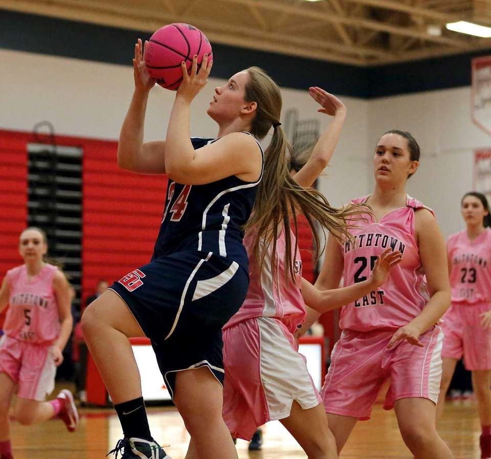 Smithtown West's Melissa Meyers moves in for the