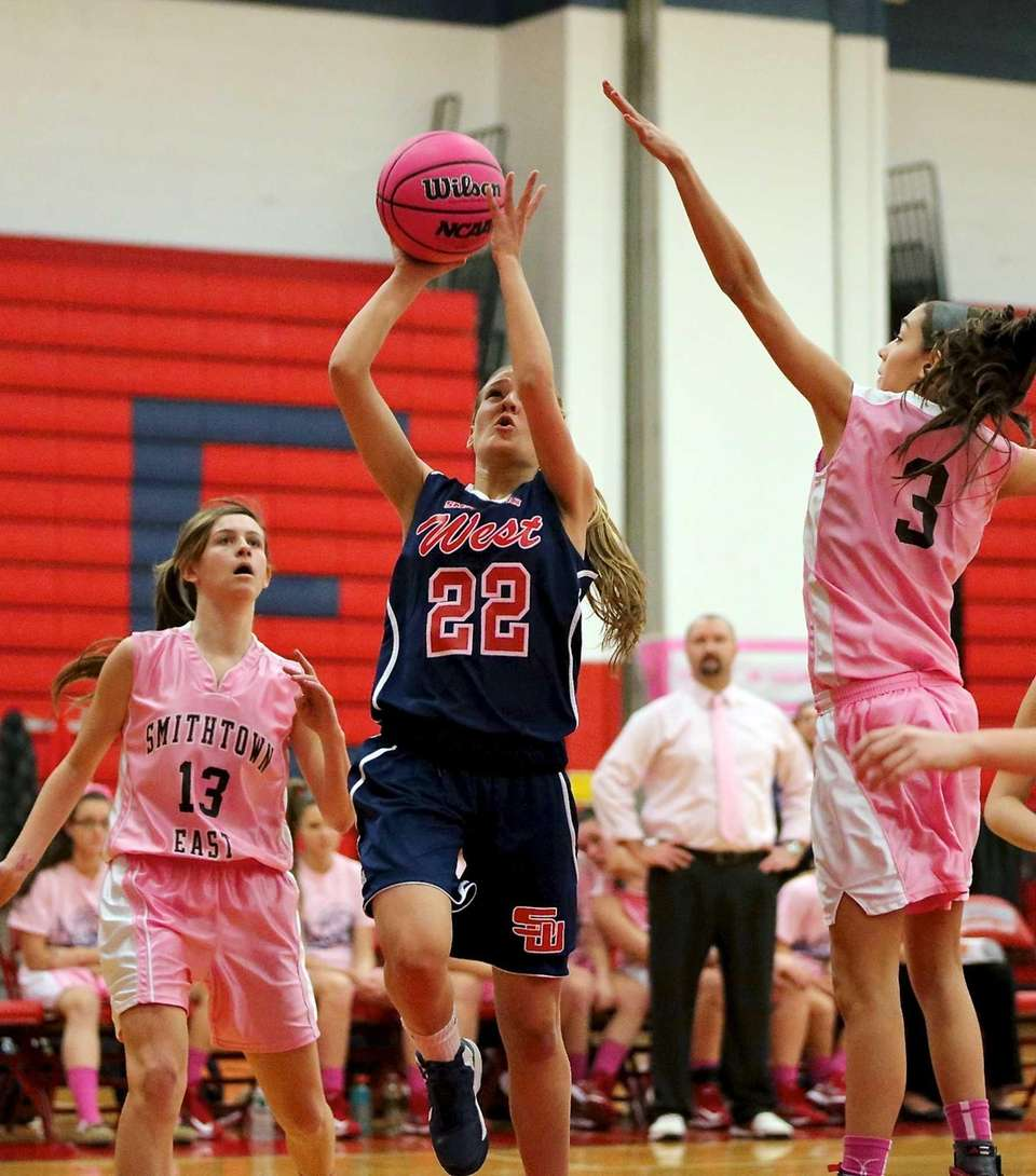 Smithtown West's Savannah Miller puts up the short
