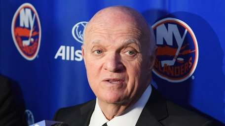Islanders president and general manager Lou Lamoriello speaks