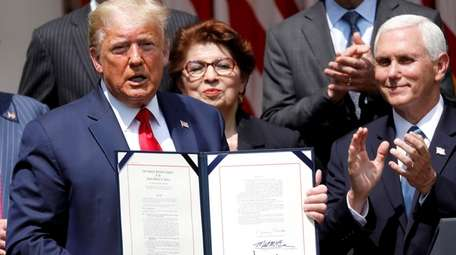 President Donald Trump in the Rose Garden of