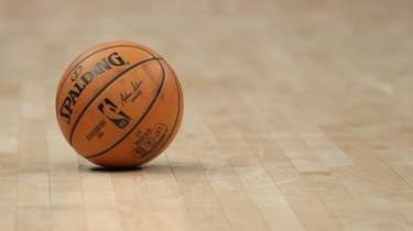 A general view of an NBA basketball at