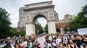 Protestors gathered in Washington Square Park on Friday