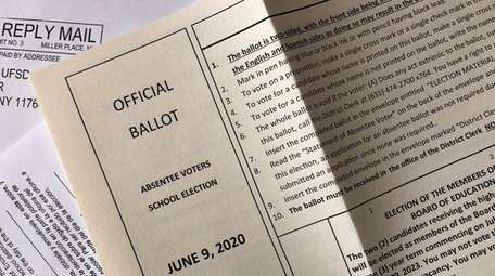 An official Suffolk County Absentee Voters school elections