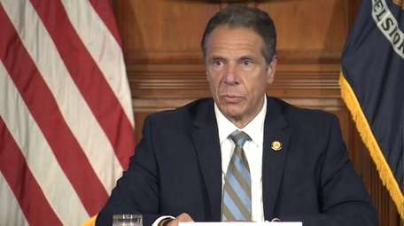 Gov. Andrew M. Cuomo at a briefing on