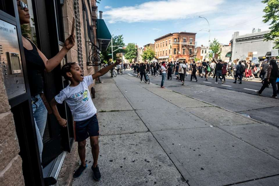Protest along Bedford Ave. in Brooklyn to calling