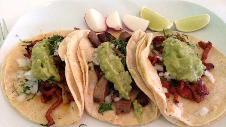 Trio of tacos at the new Cinco de