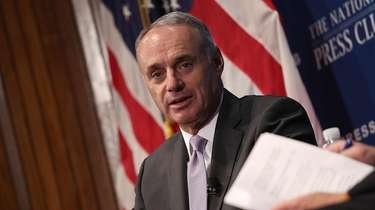 Major League Baseball commissioner Rob Manfred speaks at