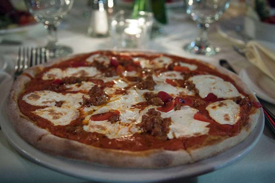 The Basil Leaf's pizza piccante, with crumbled spicy