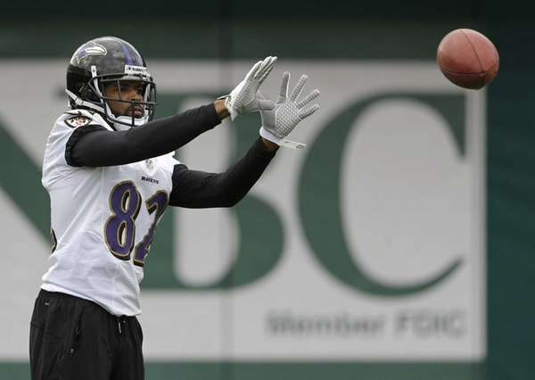 Baltimore Ravens wide receiver Torrey Smith prepares to