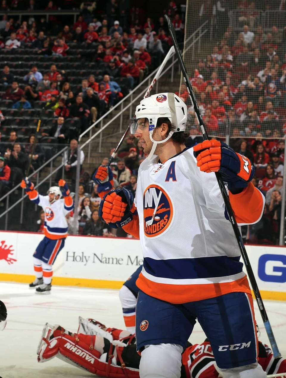 John Tavares celebrates his goal in the first