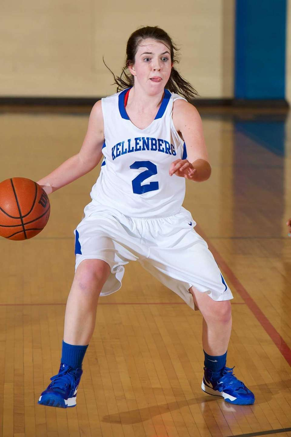 Kellenberg guard Brenna Dennelly (2) looks to drive