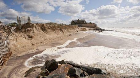Erosion visible at Georgica Beach in East Hampton,