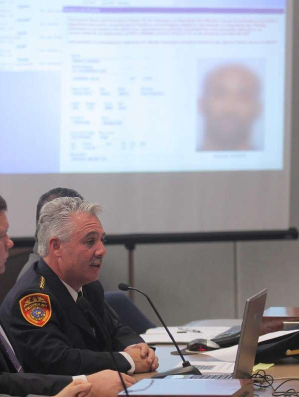 Suffolk County Police Chief James Burke testifies before