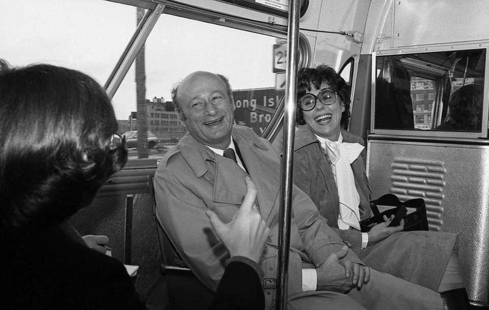 Ed Koch on the bus with Bess Myerson