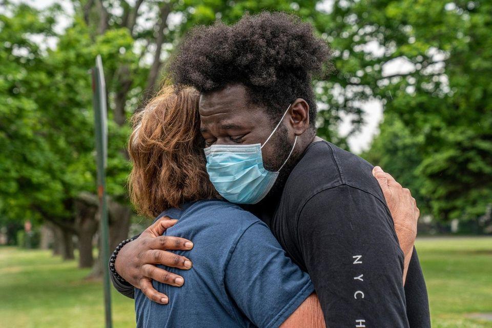 Hesaun Black, 27, from Mattituck gets an emotional