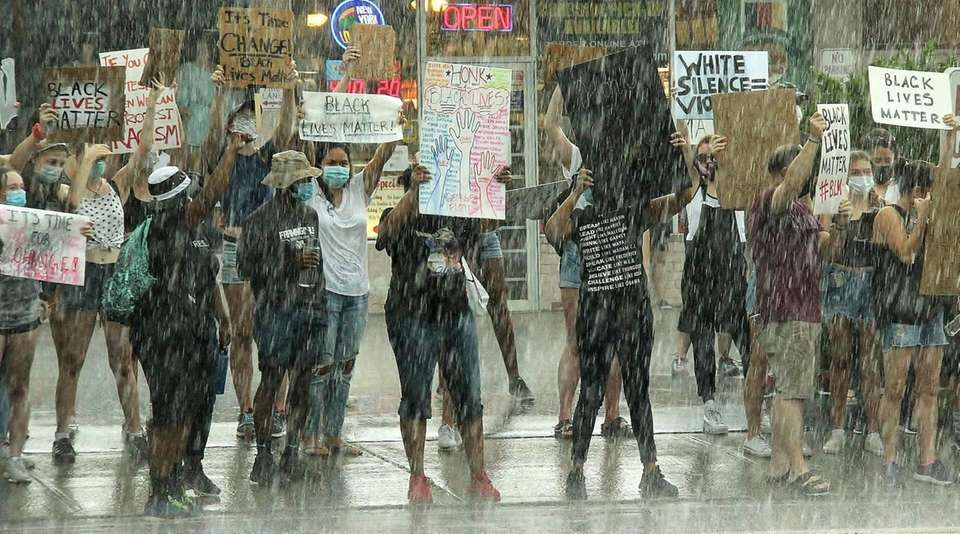 Peaceful protest on Broadway in Greenlawn, Saturday, June