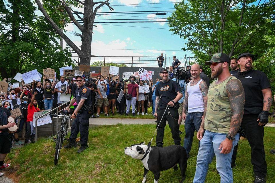 Smithtown protesters on Main Street on Sunday, June