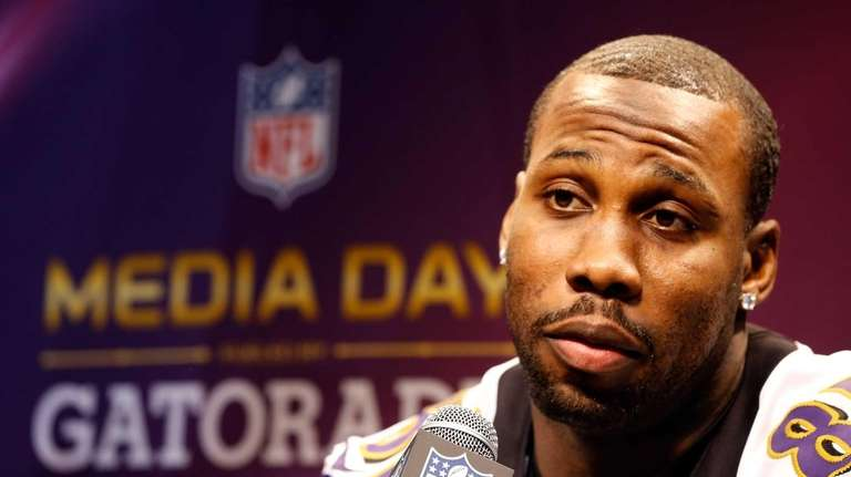 Anquan Boldin of the Baltimore Ravens answers questions