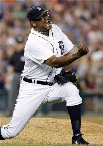 Jose Valverde celebrates at the end of a