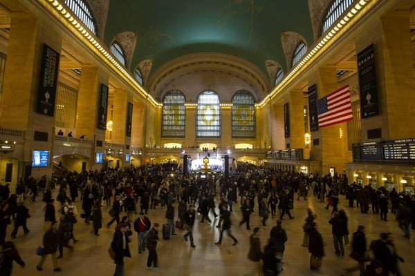 Commuters pass through Grand Central Terminal before the