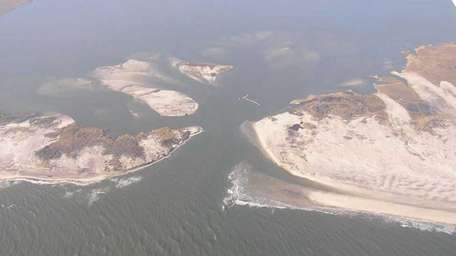 Aerial photo of the breach at the Otis