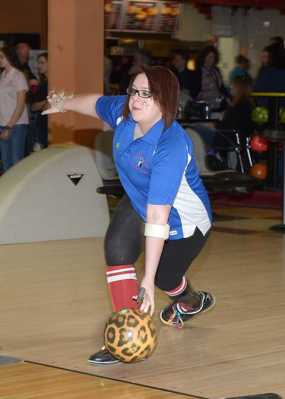 Melissa Sherman of Middle Country releases the ball
