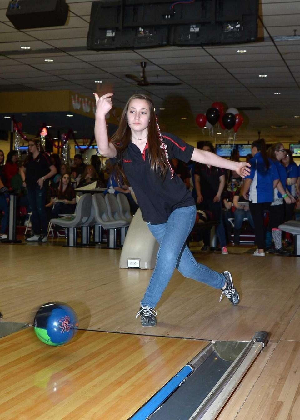 East Islip's Nichole Baione with the releases the