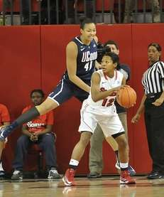 Kiah Stokes of UConn defends Briana Brown of