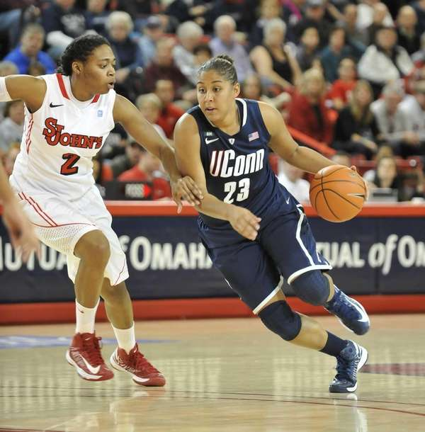 UConn's Kaleena Mosqueda-Lewis drives to the basket against