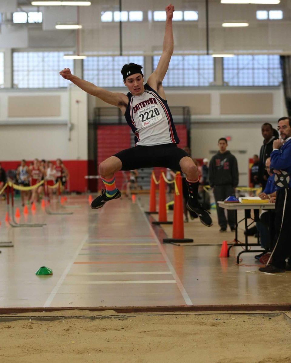 Smithtown West's Devin Mirenda wins the long jump