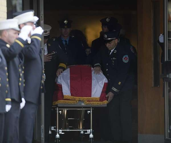 The casket of 9/11 firefighter Charles Chuck Jones