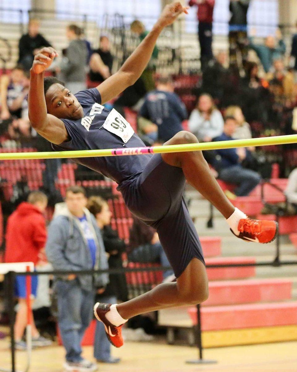 Huntington high jumper Sondy Jean-Baptiste took first place