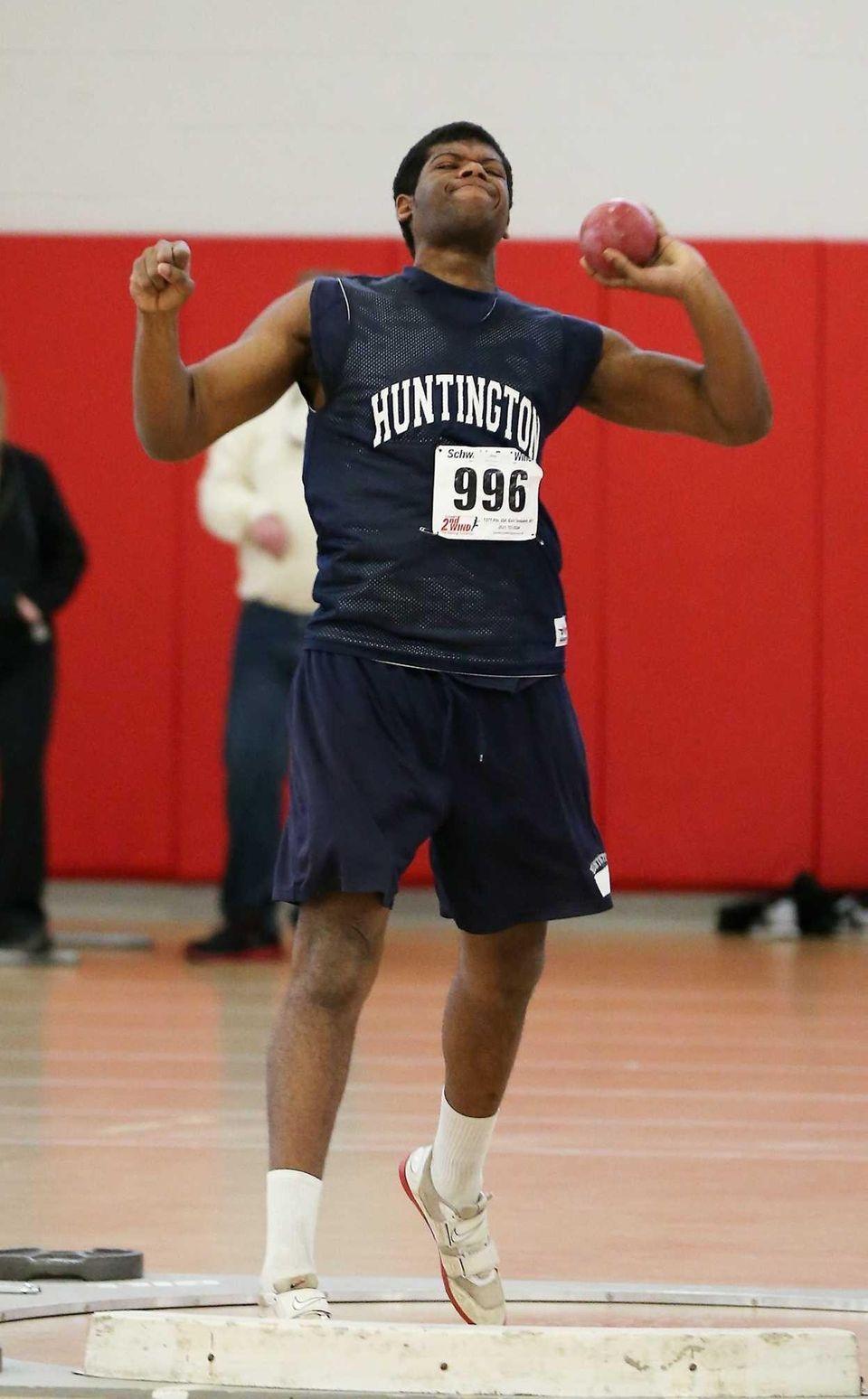 Huntington shot putter Shaheem Lewis takes second place