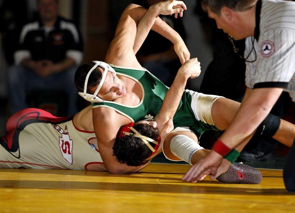 Longwood's Corey Rasheed uses a headlock to turn