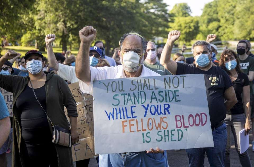 Demonstrators demanding justice for George Floyd and others
