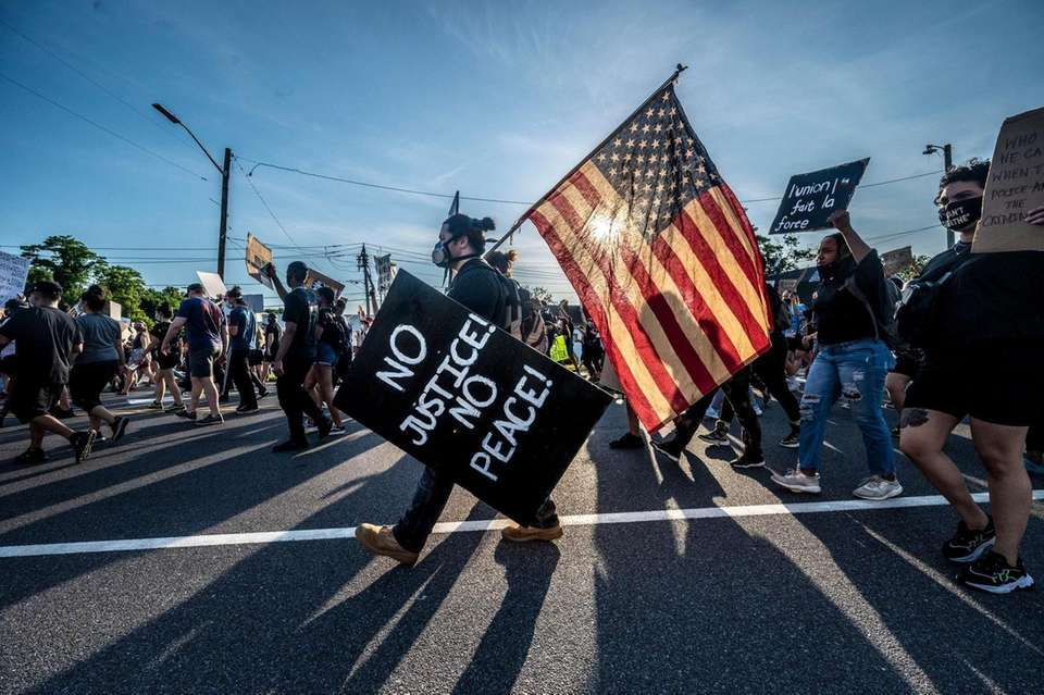 Protesters gathered in Smithtown to protest against police