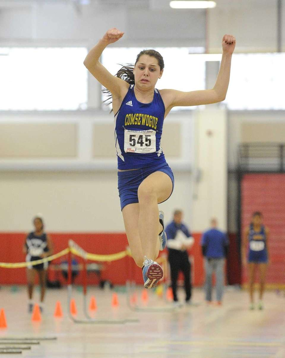 Comsewogue's Sabrena Reid placed first in the triple