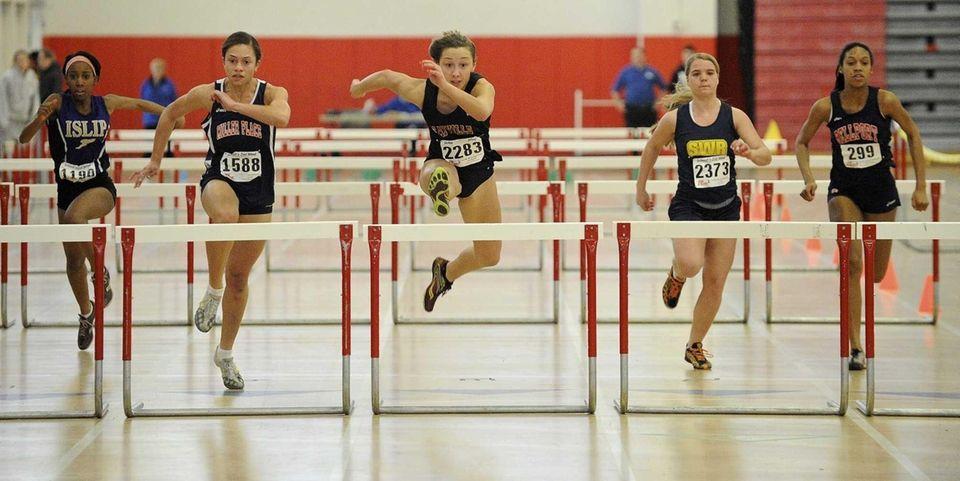 Sayville's Melanie Trinkwald wins the 55-meter hurdles in