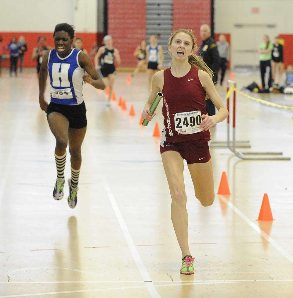 Southampton's Erika Gulija finishes first in the 4x200