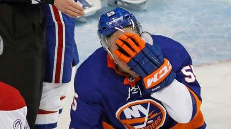 Islanders defenseman Johnny Boychuk after he was hit